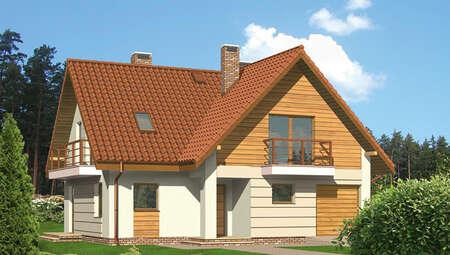 Интересный проект двухэтажного особняка с камином