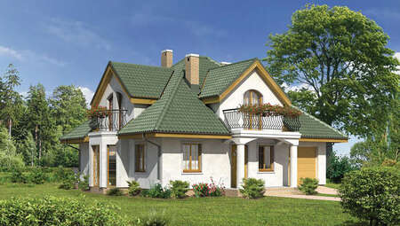 Красивый дом под великолепной крышей