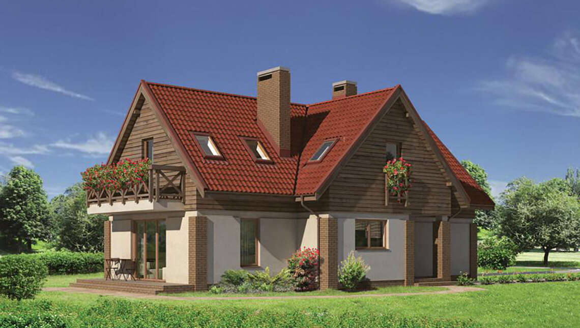 Двухэтажный коттедж с деревянными фронтонами