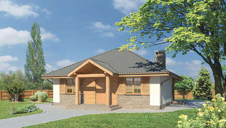 Проект жилого дома с четырехскатной крышей