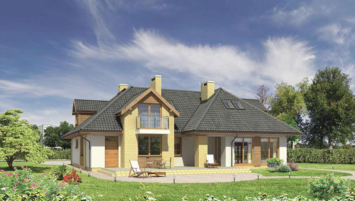 Двухэтажный дом сложной формы