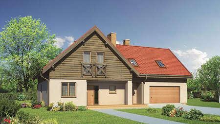 Двухэтажный дом с красивым декором