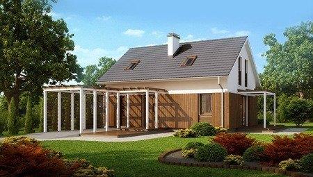 Проект мансардного дома с навесом для авто