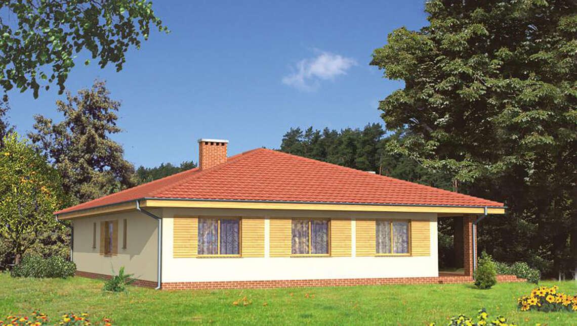 Одноэтажный дом кирпичной расцветки