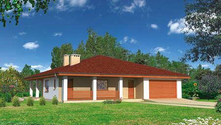 Одноэтажный жилой дом площадью 160 м2 с гаражом
