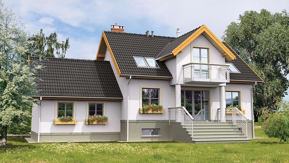 Двухэтажный жилой дом с цокольным этажом