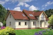 Проект двухэтажного жилого дома с двумя круглыми балконами