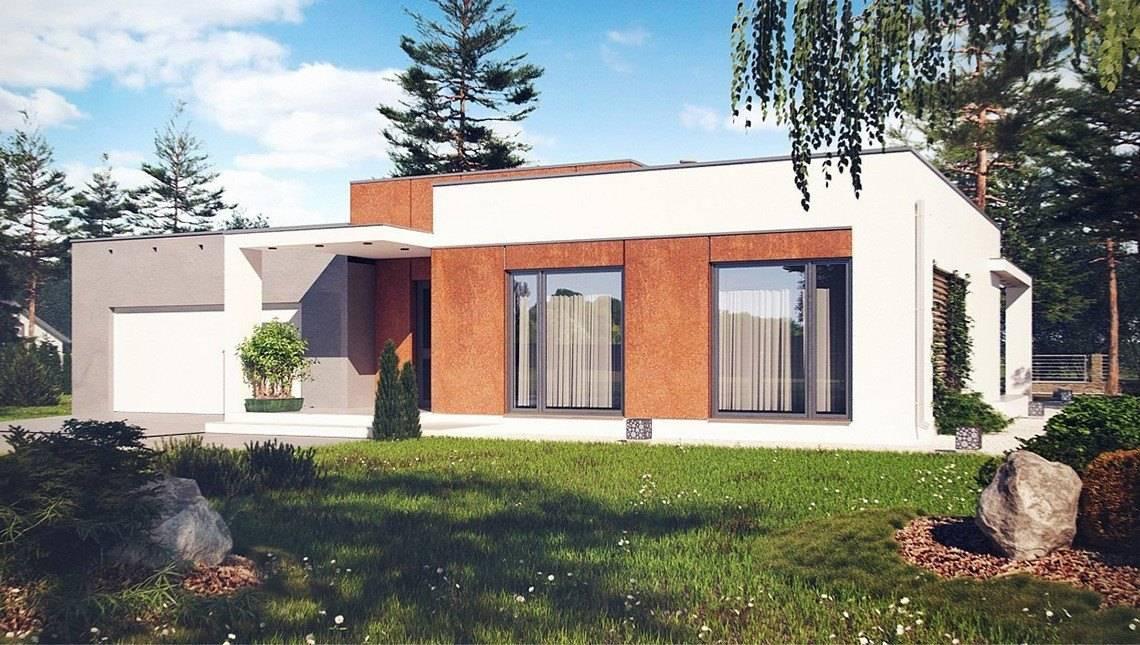 Современный загородный коттедж с плоской крышей