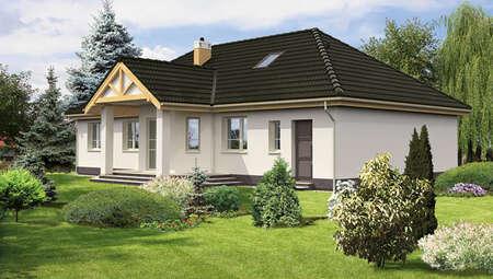 Одноэтажный жилой дом с большим крыльцом