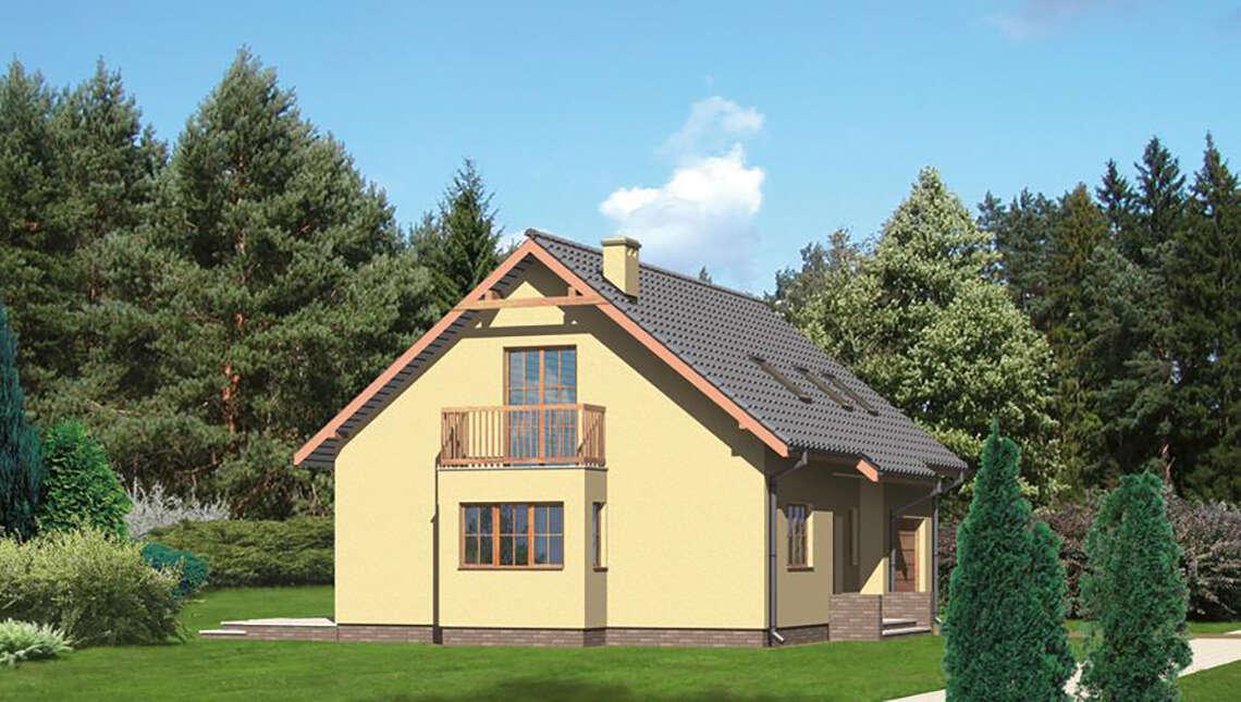 Красивый жилой дом на два балкона