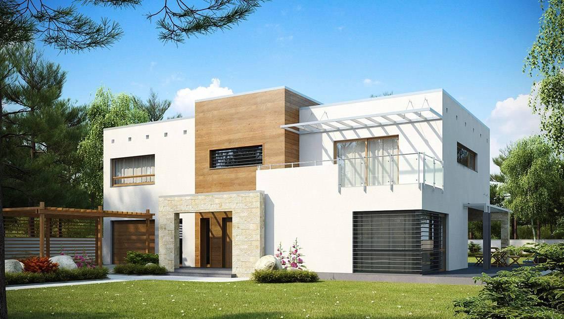 Большой двухэтажный коттедж в стиле хай-тек