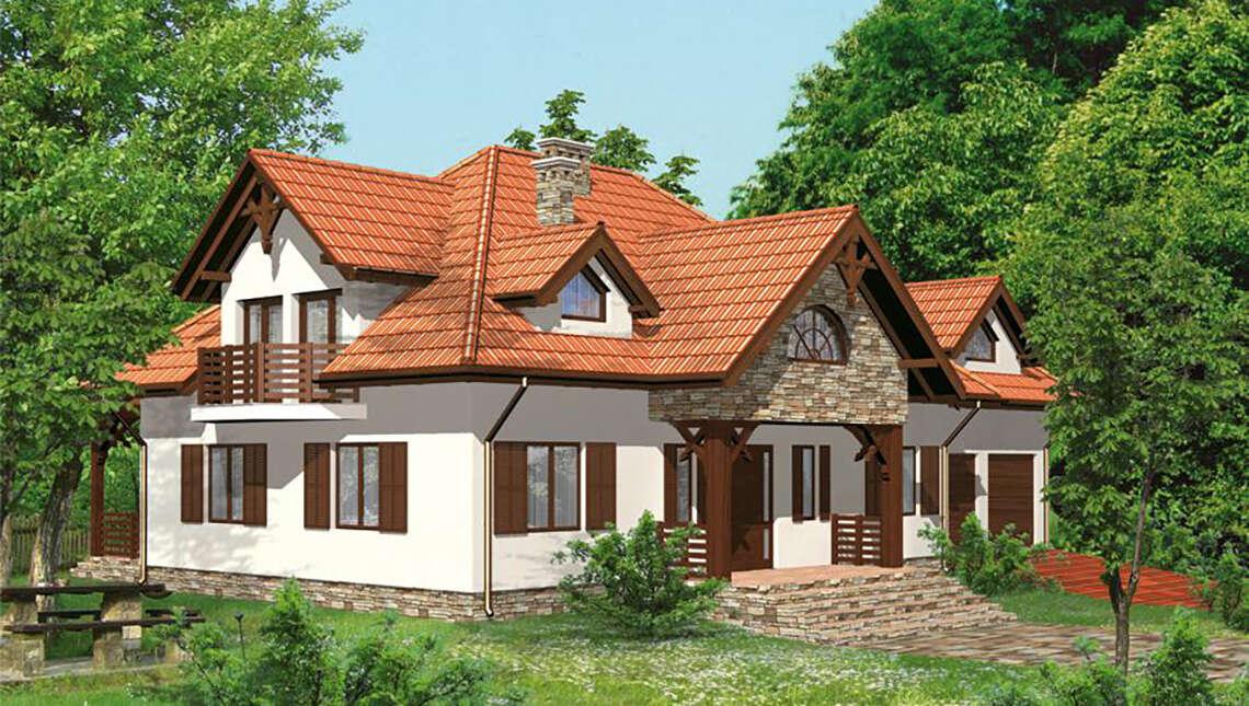 Проект жилого дома с интересным декором