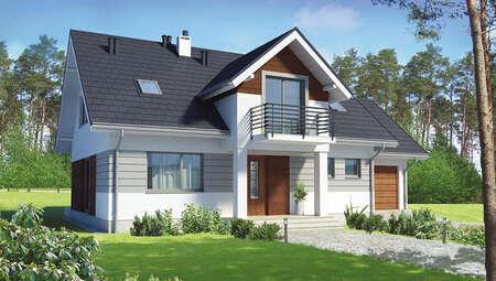 Проект привлекательного жилого дома в серо-коричневых тонах
