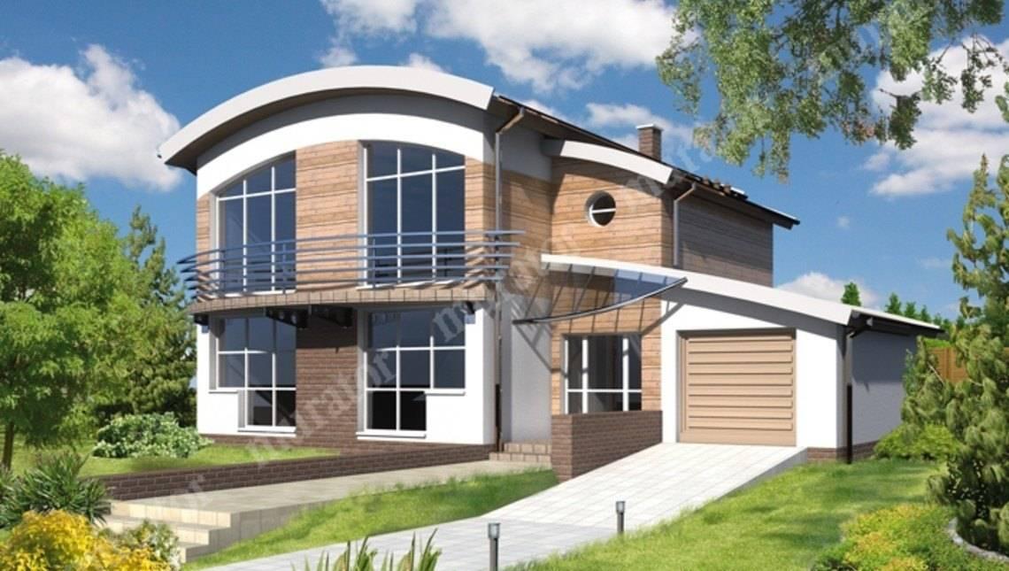 Двухэтажный дом под интересной крышей
