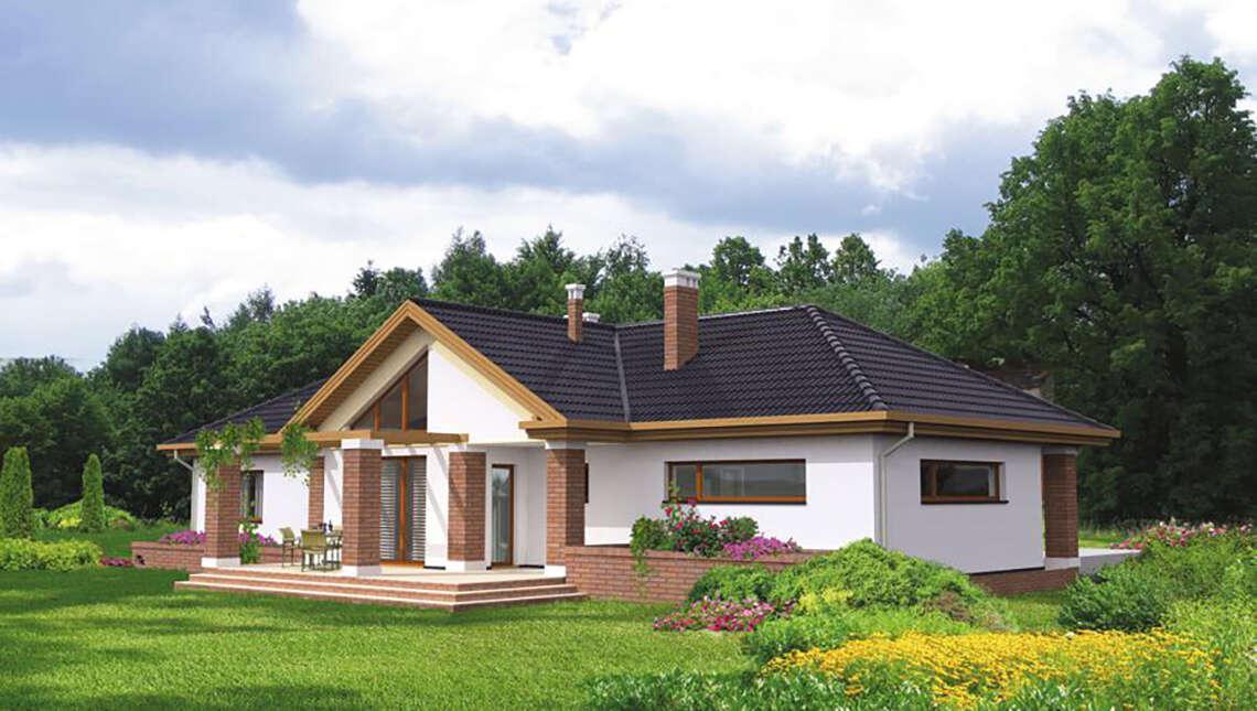 Одноэтажный дом с кирпичными колоннами