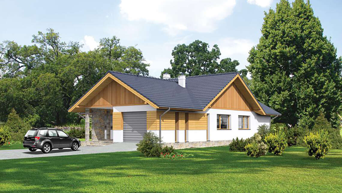 Одноэтажный красивый жилой дом