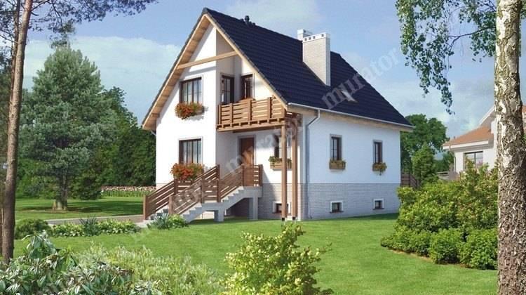 Видный двухэтажный дом с цокольным этажом