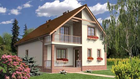 Красивый жилой дом под двухскатной крышей