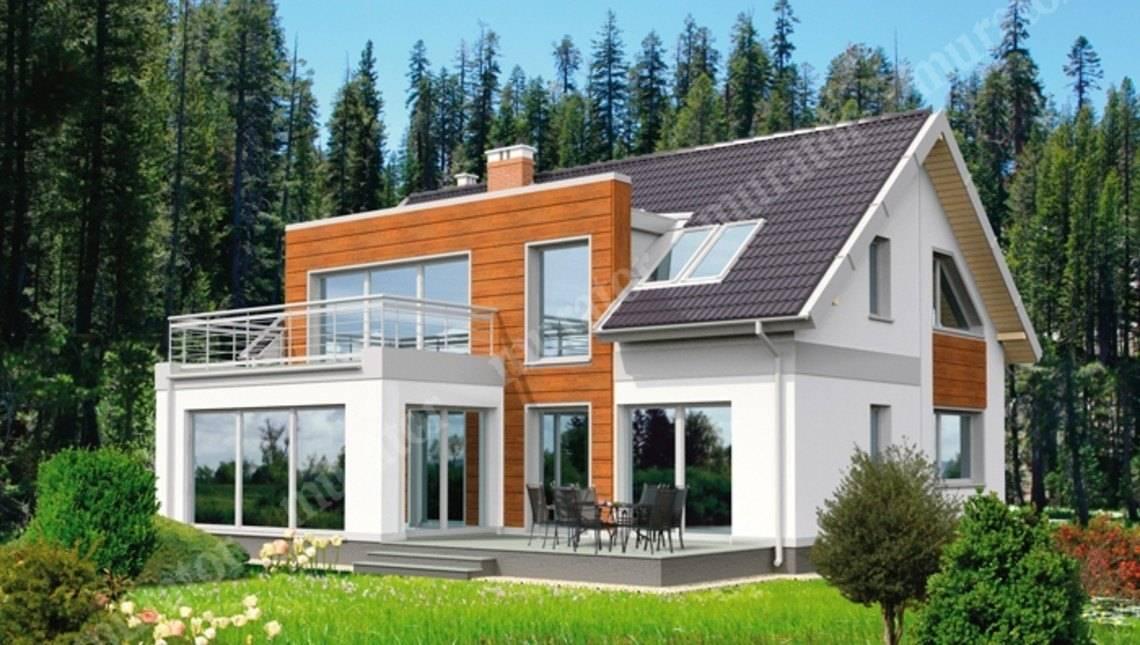 Интересный двухэтажный дом с гаражом на 2 авто