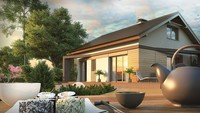 Проект одноэтажного загородного дома с мансардой и двускатной кровлей