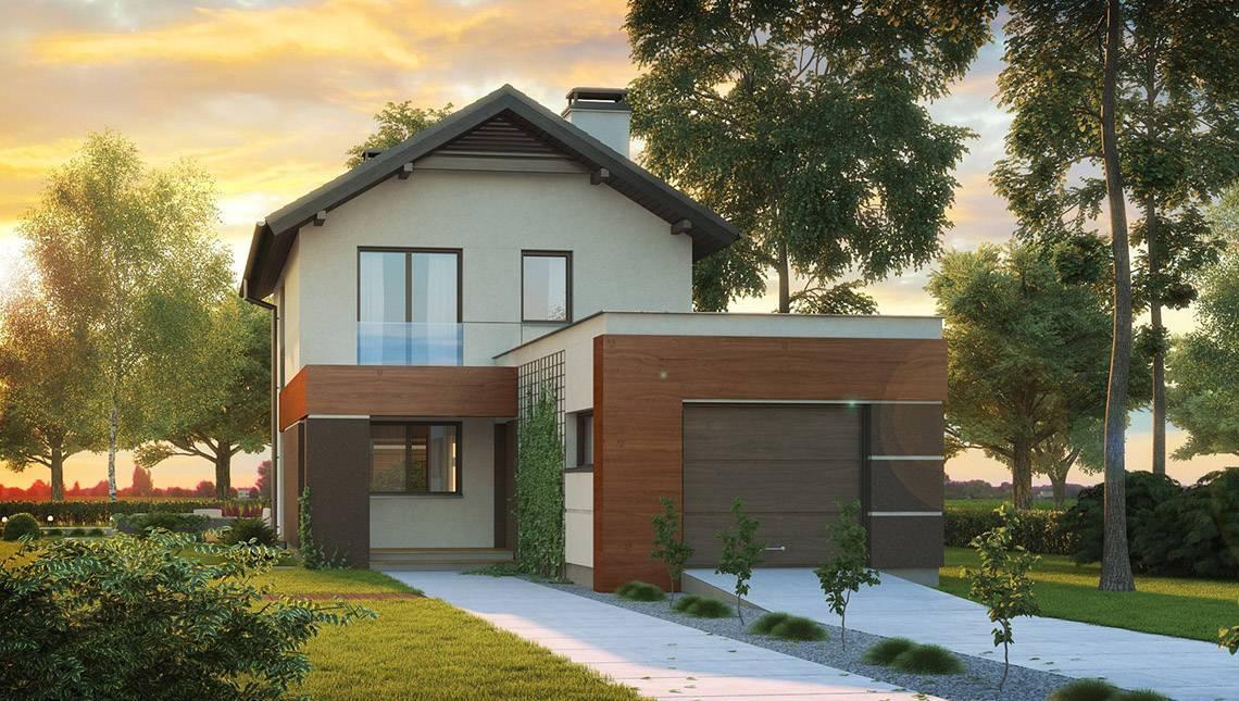 Проект двухэтажного коттеджа с гаражом и светлым фасадом