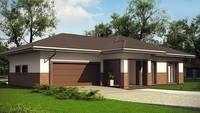 Проект одноэтажного коттеджа в светло-коричневых тонах площадью 187 кв.м.