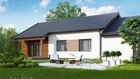План строительства одноэтажного дома площадью 121 кв.м.с небольшим гаражом