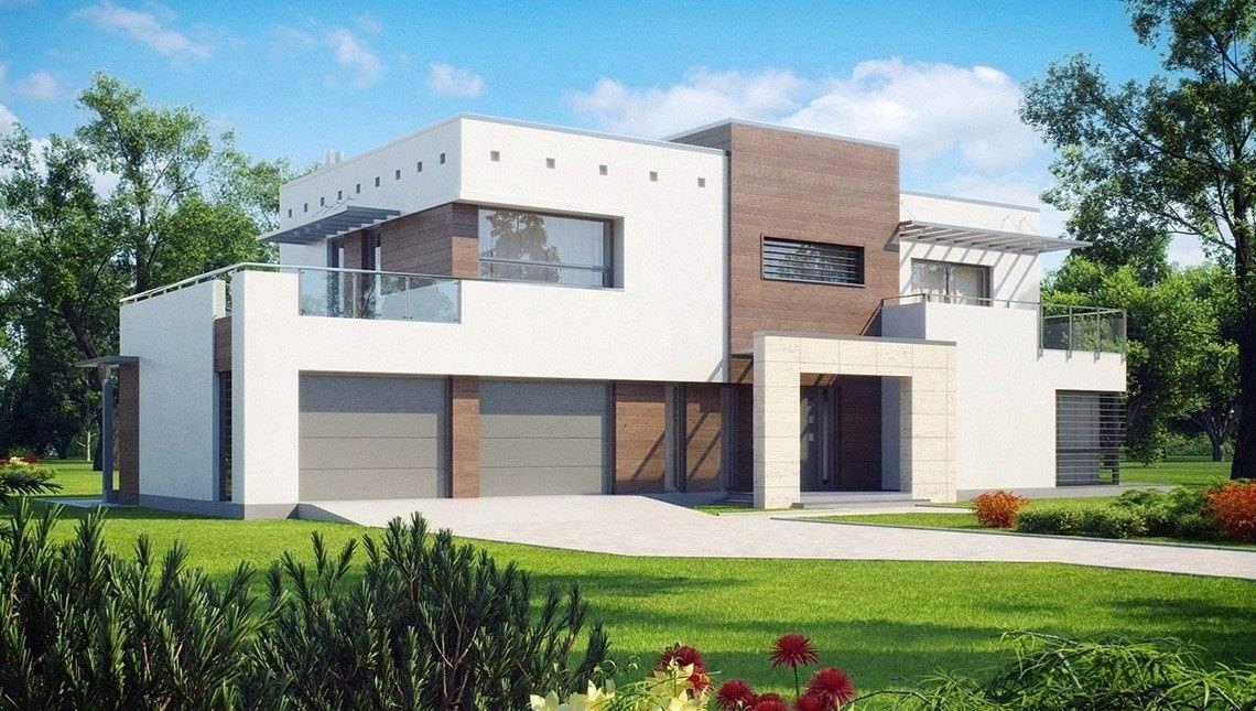 Современный двухэтажный дом с гаражом на две машины
