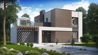 Проект двухэтажного коттеджа с плоской крышей и гаражом