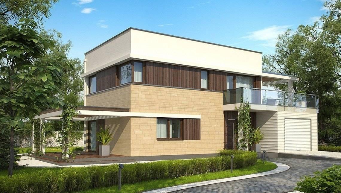 Двухэтажный дом с плоской крышей и с летней террасой