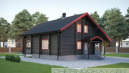 Двухэтажный коттедж из деревянного бруса