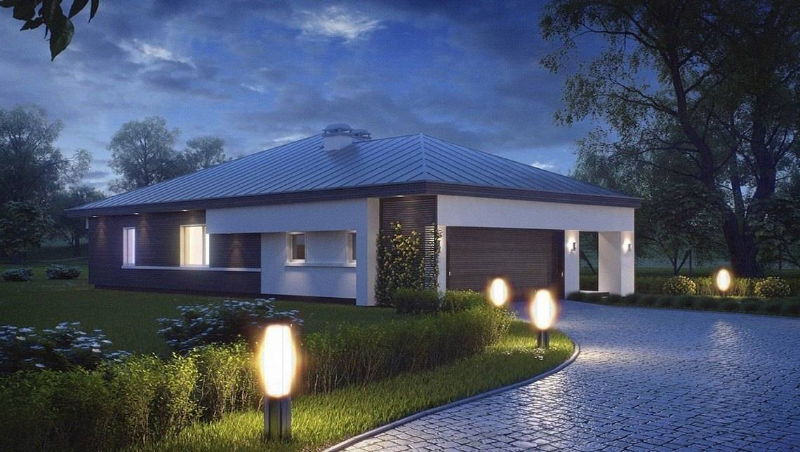 Привлекательный проект одноэтажного коттеджа с гаражом для двух автомобилей