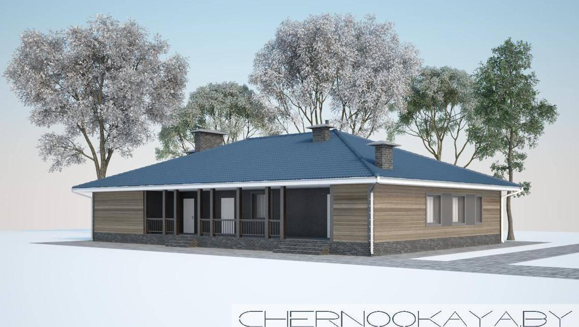 Проект одноэтажного дома для просторного загородного участка