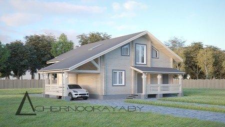 Компактный загородный дом для отдыха из деревянного бруса