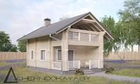 Роскошный двухэтажный деревянный загородный дом