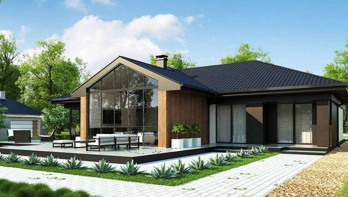 План современного коттеджа площадью 246 кв. м с просторным гаражом на две машины