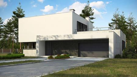 Планировка просторного коттеджа площадью 283 кв. м с террасой на крыше гаража
