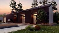План стильного коттеджа площадью 170 кв. м с гаражом на два автомобиля