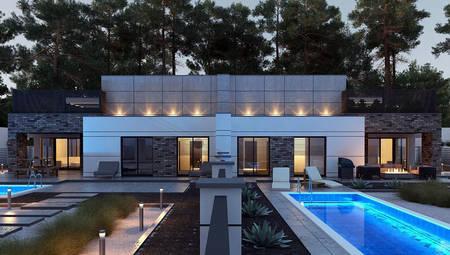 Чертеж восхитительного особняка на 246 кв. м со встроенным гаражом