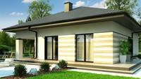 Планировка небольшого дома на 103 кв. м с просторной гостиной, оборудованную камином