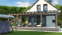 План компактного дома площадью 104 кв. м с просторной террасой