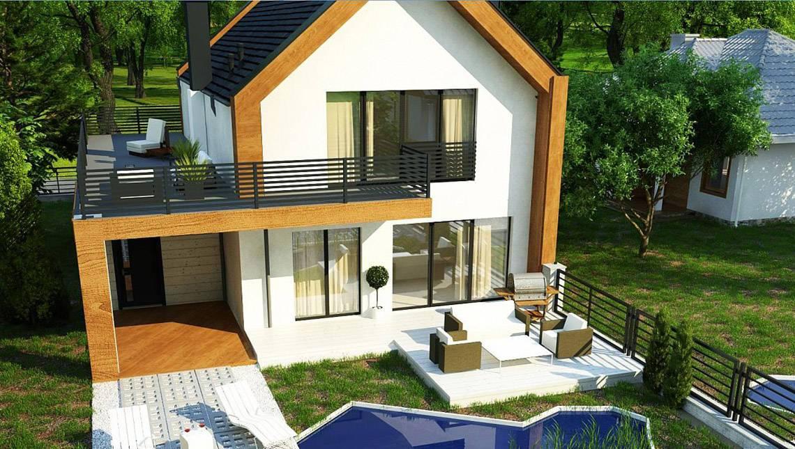 План современного дома площадью 173 кв. м в стиле барнхаус
