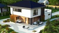 Проект стильного коттеджа площадью 180 кв. м с гаражным помещением для двух автомобилей
