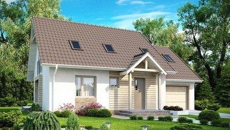 Стильный проект дома с мансардным этажом и гаражом