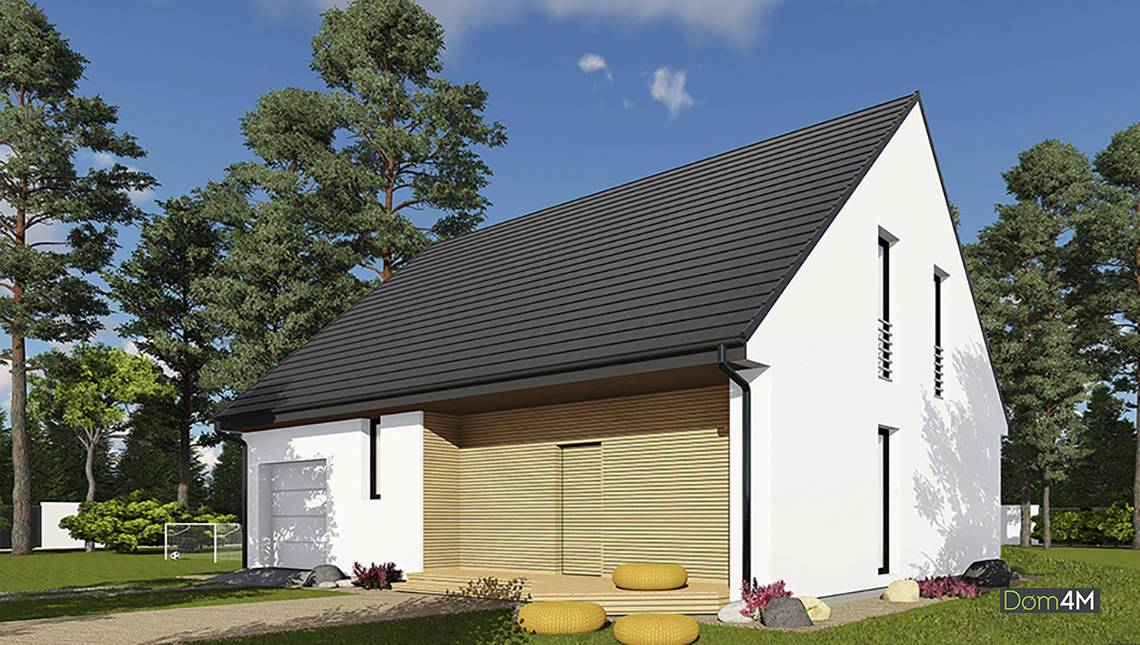 Проект жилого дома с мансардою и гаражом
