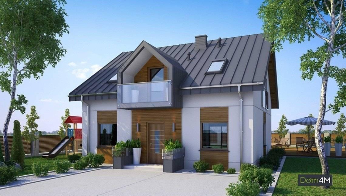 Красивый дом с мансардой и стильными балконами