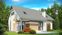 Проект дома с встроенным гаражом, балконом и красивым эркером