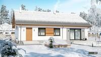 Красивый одноэтажный жилой дом с кирпичным серым декором