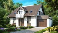 Проект дома с встроенным гаражом и комфортабельной мансардой