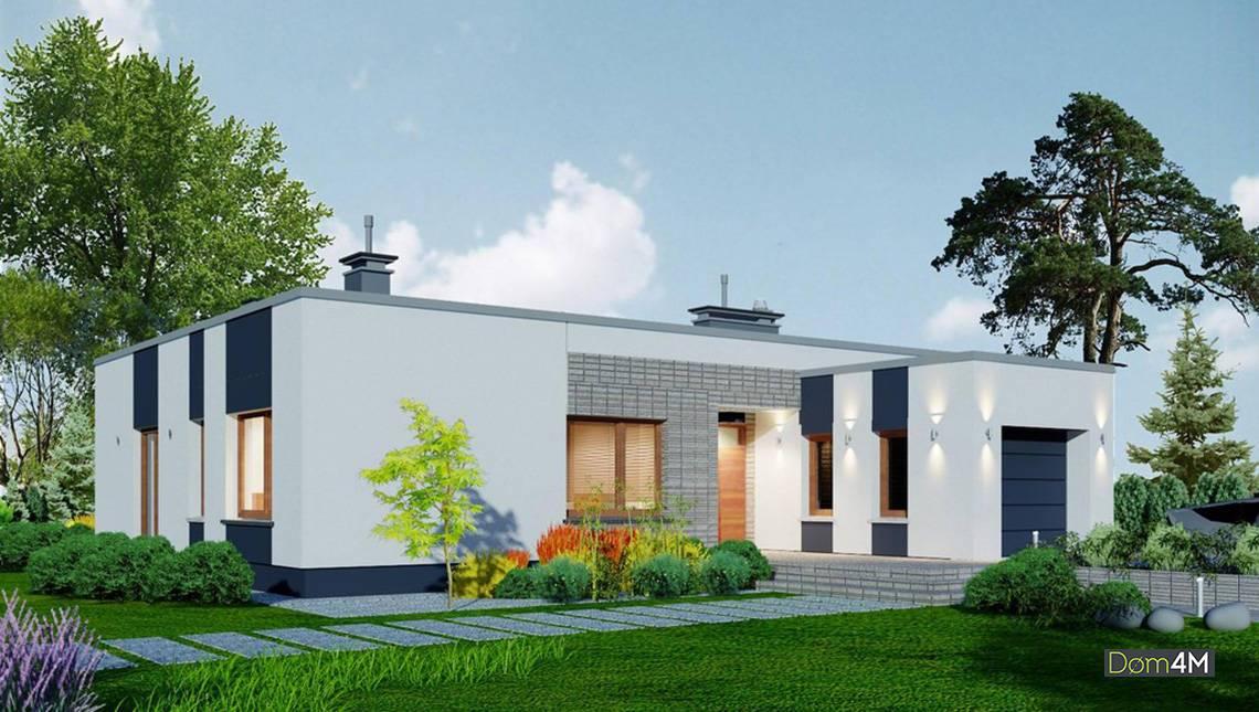 Проект современного одноэтажного жилого дома с гаражом
